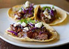 Steak Tacos with Chipotle Cherry Salsa and Caramelized Onions recipe