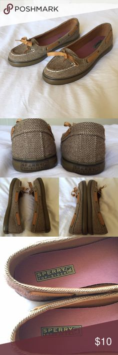 Sperry Top-Sider Boat Shoes Lola Brown Canvas •Worn once, they are in amazing condition.          •No imperfections.                                                     •I'm open to all reasonable offers :) Sperry Top-Sider Shoes Flats & Loafers