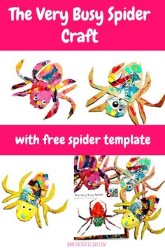 We are massive Eric Carle fans around here, and this The Very Busy Spider craft makes use of painted tissue paper from a previous Carle-inspired project. Creative Activities For Kids, Book Activities, Preschool Activities, Spider Template, The Very Busy Spider, Spider Crafts, Author Studies, Eric Carle, Free Spider