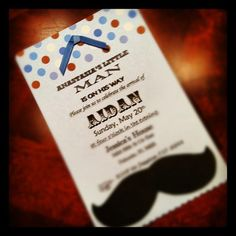 Moustache Bash!!! Baby Shower Invite :-) I bought a box of blank invites with a link to the template design for word, fancied up the fonts, added a bow and a moustache. :-) WOOT!