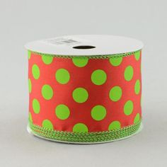 "2.5"" Polka Dot Ribbon: Red/Lime Green"