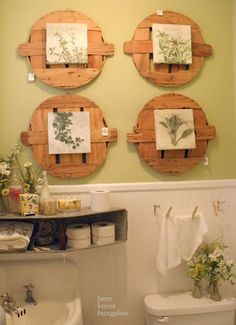 Who would have thought...bushel basket lids as wall decor!