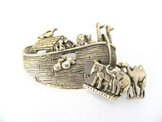 Vintage 1970's Gold Noah's Ark Brooch  by BroochesTheSubject, $24.50