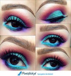 Niebieski i fioletowy makijaż oczu