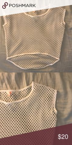 G by Guess white layering crop top Worn only once! Perfect see thru white cropped layering piece for a simple tank or cover up for the beach. Made of stretchy material, super versatile; can be worn off one shoulder. G by Guess Tops