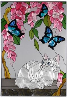 Kitty Art 2 - White Cat and Blue Butterfly Vertical Stained Art Glass Panel Stained Glass Designs, Stained Glass Panels, Stained Glass Projects, Stained Glass Patterns, Stained Glass Art, Mosaic Art, Mosaic Glass, Animal Original, Glass Butterfly