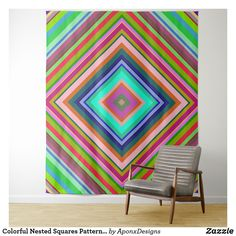 Colorful Nested Squares Pattern Tapestry - personalize gift idea special custom diy or cyo Customized Gifts, Personalized Gifts, Home Gifts, Wall Tapestry, Squares, Create Your Own, Custom Design, Outdoor Blanket, Diy