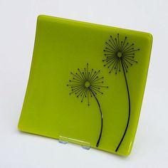DANDELION CLOCKS  Lime Green Fused Glass Dish by HazelBunyan on Etsy