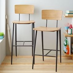 Slope Leg Bar + Counter Stool #West Elm  Saw these in person at the west elm, strawberry.  Really liked 'em.  Cast legs