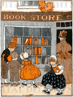 Wonderful BOOKSTORE. Vintage Books ILLUSTRATION. Reading DIGITAL Download. Child…