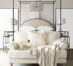 Bedroom ideas for modern to rustic schemes. Tips and tricks for creating a master bedroom decor. Canopy Bedroom, Oversized Floor Mirror, Home Bedroom, Bedroom Interior, Interior Barn Doors, Bed, Master Bedrooms Decor, Bedroom Decor, Home Decor