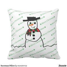 Snowman Pillow #Snowman #Snow #Snowflake #Winter #Holiday #Christmas #Tree #MerryChristmas #Home #Pillow