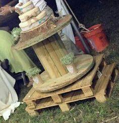 Boda de jardin,mesa de carrete y paletas de madera, #noscasamospedroysharon