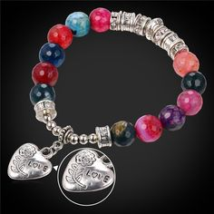 2016 Valentine's Day Gift Love Rose Heart Strand Bracelet For Women Fashion Jewelry Fancy Stone Beads Bracelets Bangles H1785