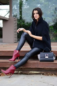 capes leather and burgundy
