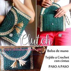 Clutch o bolso de mano tejido a crochet paso a paso