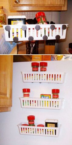 Get the directions here. You can find similar small plastic baskets here for $1.49 each, and a pack of sticky magnets here for $2.99.