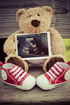 Teddy bear announcing his new brother or sister.