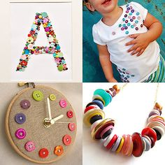 crafts with buttons.... I want to make the monogram for Lilya for her bday