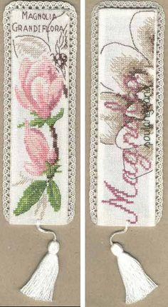 Cross stitch - flowers: Magnolia - bookmark I, II (free pattern wtih chart)