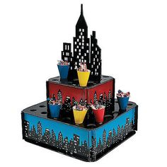 SUPERHERO PARTY SUPER HERO CITY 32 CONE SNACK TREAT POPCORN STAND HOLDER …