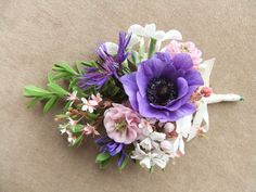 Scented corsage - anemone, aquilegia, london pride, small narcissus, perennial cornflower and hebe