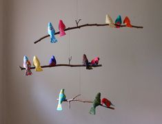Whimsical Bird Mobile - 13 Finch Size Fabric Birds on Natural Tree Branches. $160.00, via Etsy.