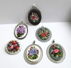 Floral ribbon pendants