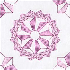 "Interlocking Mandala Star Stamped Cross Stitch Quilt Blocks - 18"" x 18"" 6/Pkg"