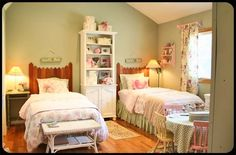 Ruthie's Cottage: Girls Room Via The Old Painted Cottage Unique Goods and Curious Finds Fence Headboard, Painted Cottage, Daughters Room, Little Girl Rooms, Furniture Arrangement, Bedroom Colors, Cottage Style, Painted Furniture, Shabby Chic