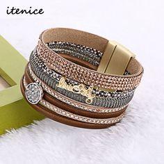 New Multilayer Leather Bracelets For Women Crystal Bracelets letters design Magnetic Bracelets & Bangles jewelry