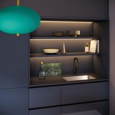Kitchen storage: tips to keep it spotless - A tidy, dark-colored Mobalpa kitchen with optimized storage – Storage in a minimalist kitchen // - Kitchen Room Design, Kitchen Cabinet Design, Modern Kitchen Design, Home Decor Kitchen, Interior Design Kitchen, Kitchen Colors, Kitchen Furniture, Kitchen Ideas, Kitchen Inspiration