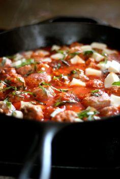Turkey Meatballs in Spicy Tomato Basil Sauce with Fresh Mozzarella