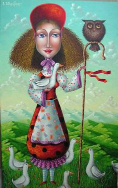 "Artist Zurab Martiashvili: ""The Shepherdess"" People Illustration, Illustrations, Illustration Art, Georgia, Fantasy Kunst, Fantasy Art, Virtual Art, Art Academy, Colorful Paintings"
