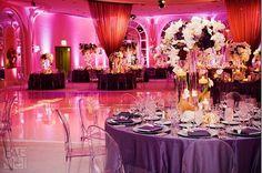 purple wedding reception centerpieces Purple Wedding Reception for Brighter Look Modern Wedding Reception, Wedding Reception Lighting, Wedding Reception Centerpieces, Desi Wedding, Wedding Venues, Wedding Ideas, Reception Ideas, Reception Halls, Uplighting Wedding