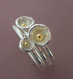 Tiny Apple Blossom Ring Set Sterling Silver and 22k by esdesigns, $95.00