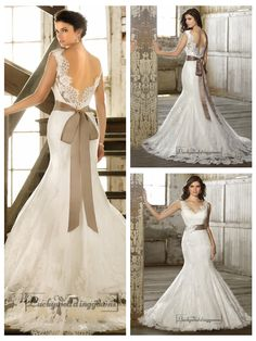Straps V-neck Trumpet Lace Wedding Dresses with Deep V-back