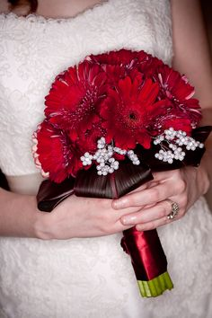 Red gerbera daisy wedding bouquet. Can really be done in any color.