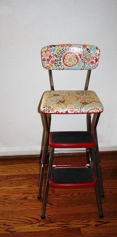 Beautiful Antique Metal Kitchen Step Stool