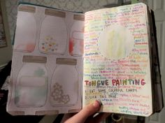 ehdreeahnah:  My Wreck This Journal | Page 43-44 → Tongue Painting: 1. Eat Some Colorful Candy. 2. Lick This Page.