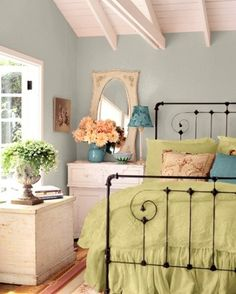 Colorful French farmhouse bedroom inspiration, romantic and playful