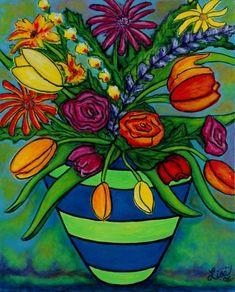 Funky Town Bouquet by Lisa Lorenz Folk Art Flowers, Abstract Flowers, Flower Art, Canvas Art, Canvas Prints, Art Prints, Arte Floral, Naive Art, Mexican Art