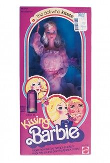 1979 Kissing Barbie - My first Barbie!  She wore a beautiful gauzy pink dress and strappy pink heels.  She came with the most amazing accessory - a lipstick stamp in the shape of her tiny little lips.  But that's not all.. a button in her back caused her lips to protrude into a pucker.  I made little Barbie kisses everywhere.  In the end, the lips got stuck like that ;)