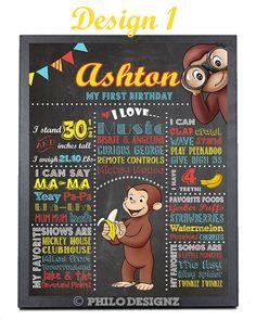 Curious George Chalkboard/ Boy Birthday/ Monkey Theme birthday poster/ printables
