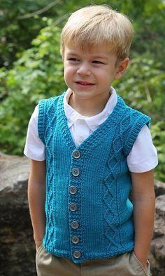 Ravelry: Diamondback Cardigan Sweater Vest pattern by Lisa K. Baby Boy Knitting Patterns, Knitting For Kids, Baby Knitting Patterns, Knitting Designs, Baby Vest, Baby Cardigan, Argyle Sweater Vest, Sweater Vests, Knit Vest Pattern