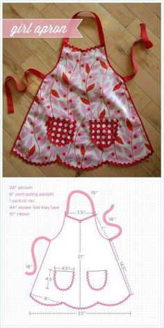 Sweetest little girl's apron - Best Sewing Tips Sewing Hacks, Sewing Tutorials, Sewing Crafts, Sewing Projects, Sewing Patterns, Kids Apron Patterns, Knitting Patterns, Sewing Aprons, Sewing Clothes