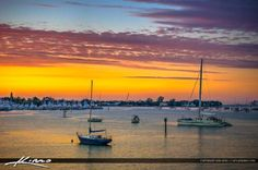 Sailboats Anchored at West Palm Beach Sunrise Colors