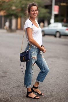 Jeans, a white tee, and sandals