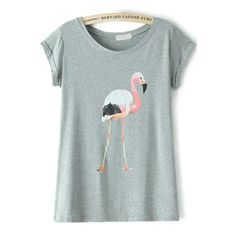 Grey Short Sleeve Flamingo Print T-Shirt found on Polyvore featuring polyvore, women's fashion, clothing, tops, t-shirts, flamingo, flamingo print, sheinside, short sleeve t shirt and short sleeve tee