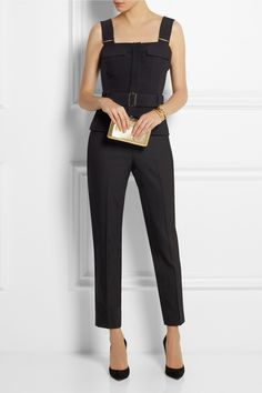 ALEXANDER McQUEEN crepe bustier, THEORY pants, KOTUR clutch and GIANVITO ROSSI pumps | Net A Porter